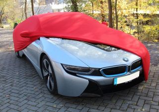 Red indoor Car-Cover with mirror pockets for BMW i8