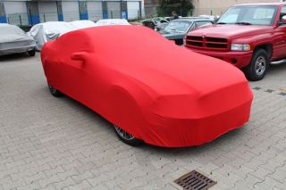 Red AD-Cover ® Mikrokontur with mirror pockets for Ford Mustang ab 2014