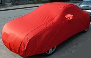 Car-Cover Samt Red with Mirror Bags for Audi TT 1