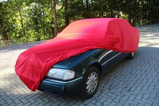 Car-Cover Samt Red with Mirror Bags for Mercedes C-Klasse...