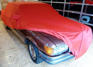 Car-Cover Samt Red with Mirror Bags for S-Klasse W116