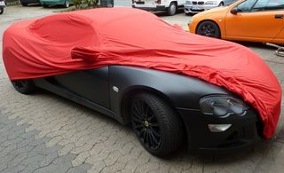 Car-Cover Samt Red with Mirror Bags for Lotus Europa SE