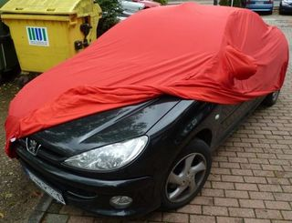 Car-Cover Samt Red with Mirror Bags for Peugeot 206 und...
