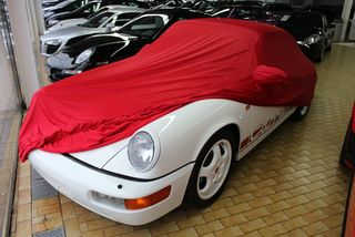 Car-Cover Samt Red with Mirror Bags for Porsche 964