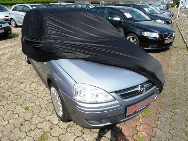 car cover satin black mit spiegeltaschen f r opel corsa c. Black Bedroom Furniture Sets. Home Design Ideas