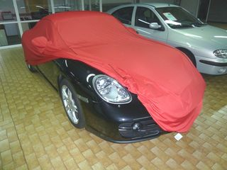 Car-Cover Samt Red with Mirror Bags for Porsche Boxster