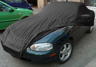 Car-Cover Satin Black with mirror pockets for Mazda MX 5 NB/NB-FL (1998-2005)