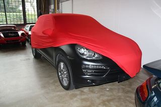 Red AD-Cover ® Mikrokontur with mirror pockets for Porsche Cayenne 2