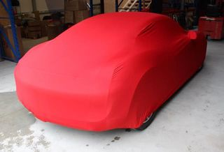 Red AD-Cover ® Stretch with mirror pockets for Porsche Cayman Typ 981c
