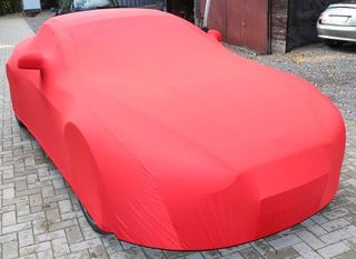 Red AD-Cover ® Mikrokontur with mirror pockets for Aston Martin Vantage Roadster