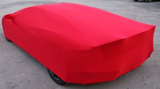 Red AD-Cover ® Stretch with mirror pockets for Lamborghini Aventador
