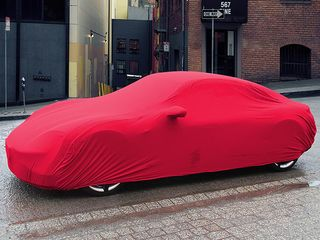 Red AD-Cover ® Stretch with mirror pockets for Porsche Taycan