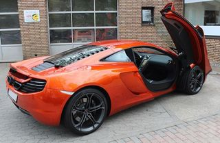 Black AD-Cover ® Mikrokuntur with mirror pockets for McLaren MP4 12C