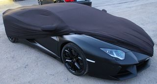 Black AD-Cover ® Mikrokuntur with mirror pockets for Lamborghini Aventador