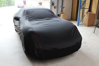 Car-Cover Satin Black with mirror pockets for Porsche Cayman Typ 981c