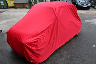 Car-Cover Samt Red for Fiat 500 with export Bumpers