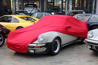 Car-Cover Samt Red with Mirror Bags for Porsche 911 Turbo G-Model