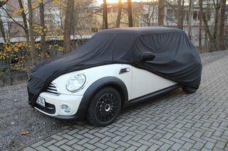 Car-Cover Satin Black with mirror pockets for BMW Mini