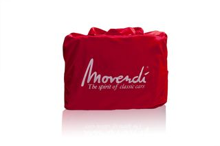 Movendi Satin Red carry bag with Zipper - with Logo